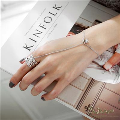 0911新品 時尚水鑽鍊式連接戒指手環