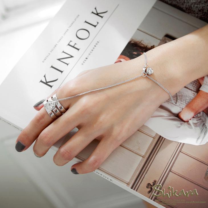 0504新品 時尚水鑽鍊式連接戒指手環