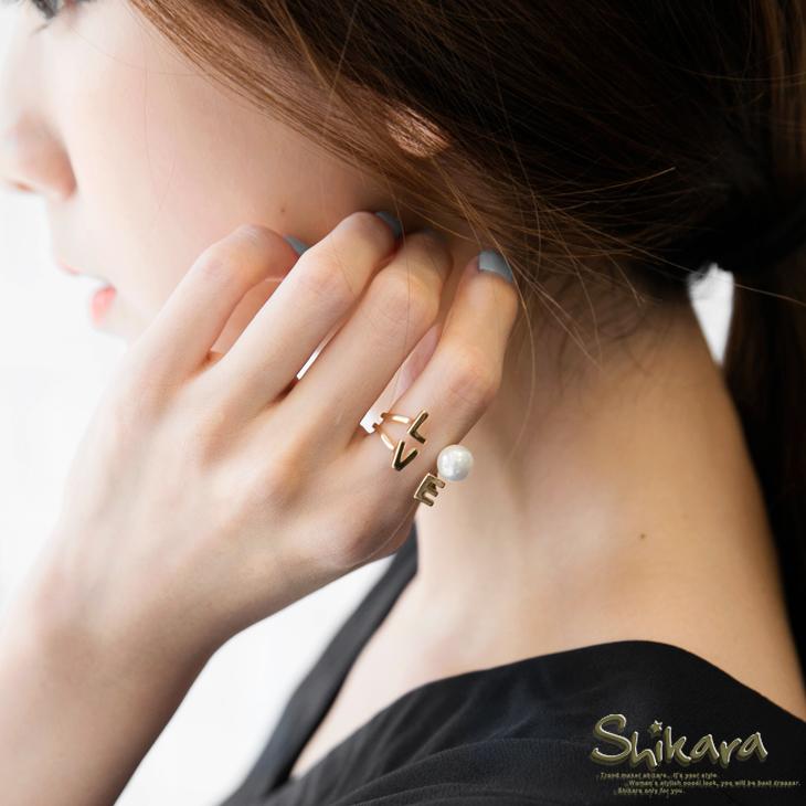珍珠Lob嚴選品牌OVE字樣造型戒指.2色
