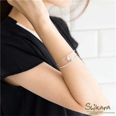 0911新品 【特價款】 星星水鑽對稱排列雙環彈性手環.2色