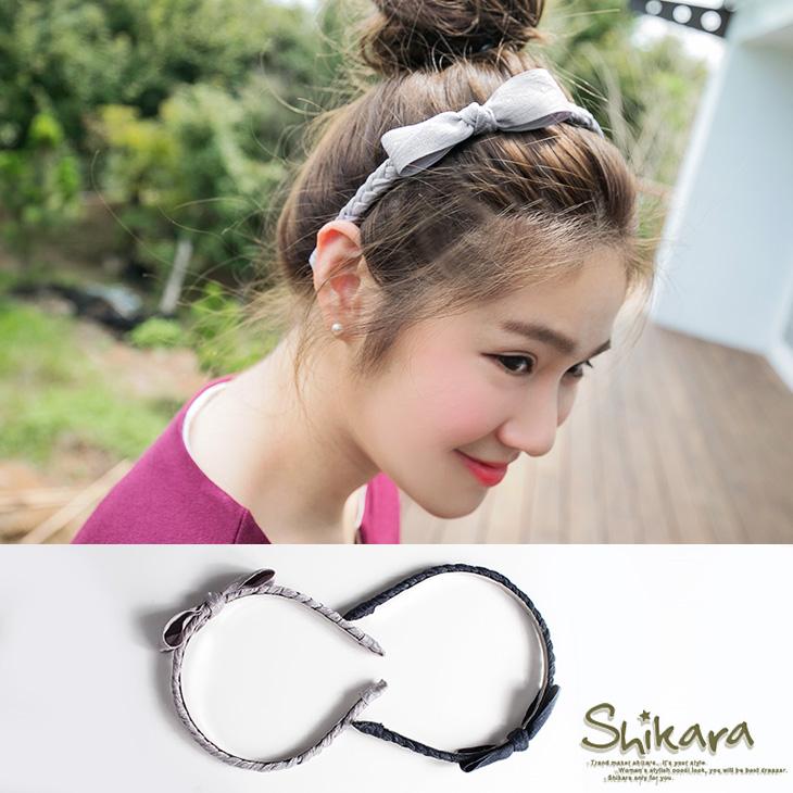 【特價款】 古典色澤麻花蝴蝶結髮箍.2色