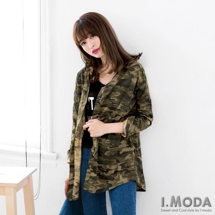 0126新品 個性迷彩反摺袖落肩長版襯衫