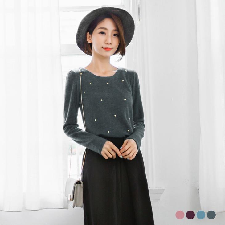 0303新品 質感仿毛料鉚釘裝飾澎澎袖上衣.4色