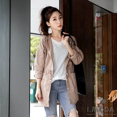 【春夏斷碼♥2件59折】純色排釦設計連帽風衣外套.2色