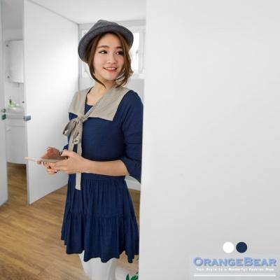 附格紋領巾素色質感傘襬七分袖長版上衣.2色