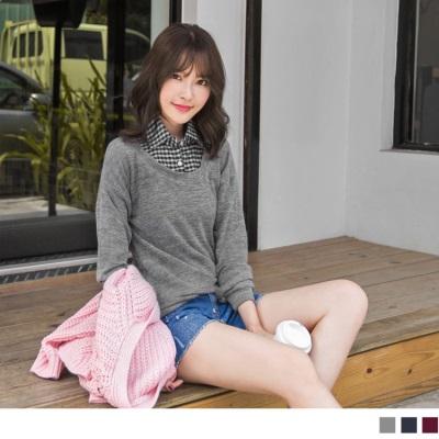 0120新品 純色織紋X格紋襯衫設計上衣.3色