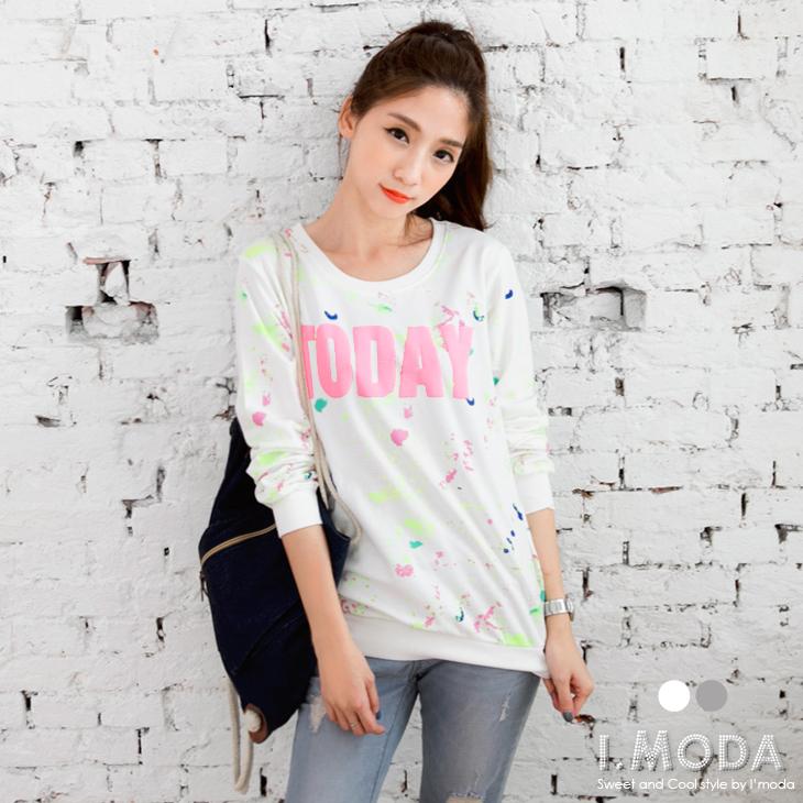 1201新品 多彩潑漆ob嚴選褲設羅紋袖口燙印上衣.2色