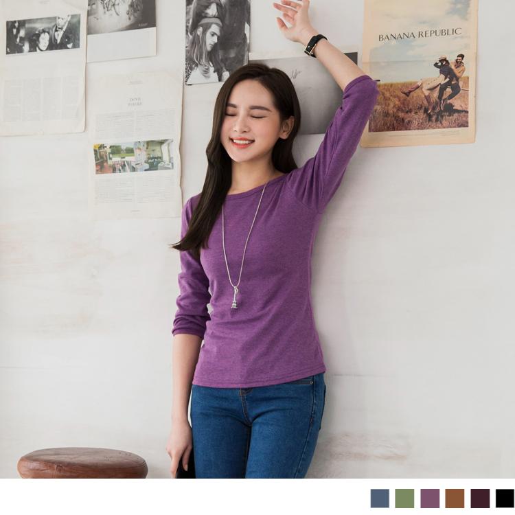 0304新品 簡單品味~圓領七分袖後綁帶素面感造型上衣?6色