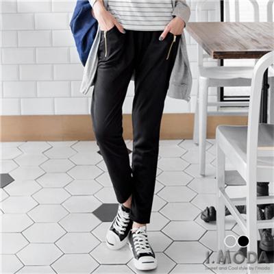 0425新品 絕對個性~金屬拉鍊造型雙口袋休閒長褲‧2色