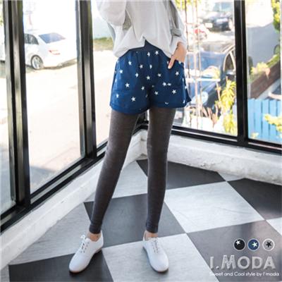 0301新品 休閒少女~星星圖短褲造型假兩件式內搭褲.3色