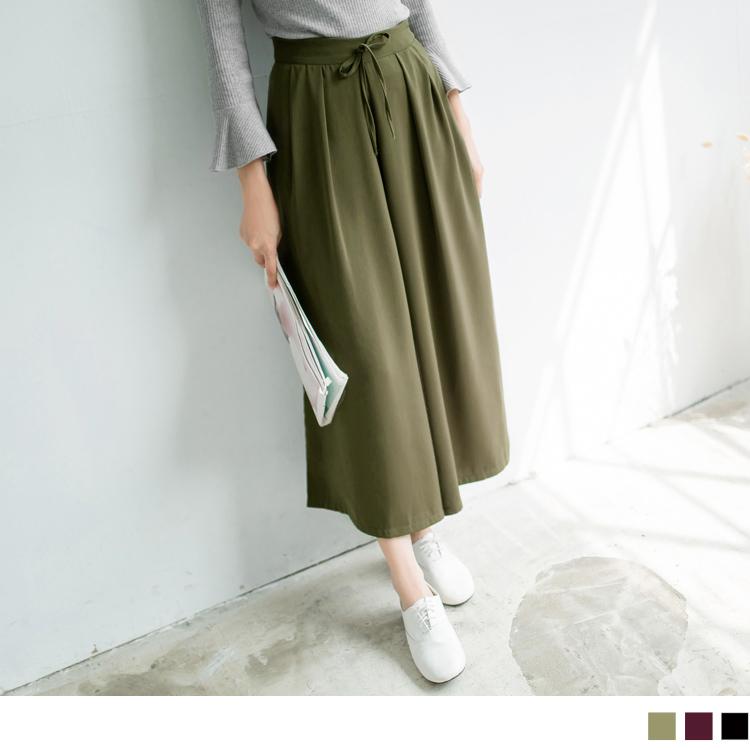 0317新品 純色質感面料打摺設計寬褲.3色
