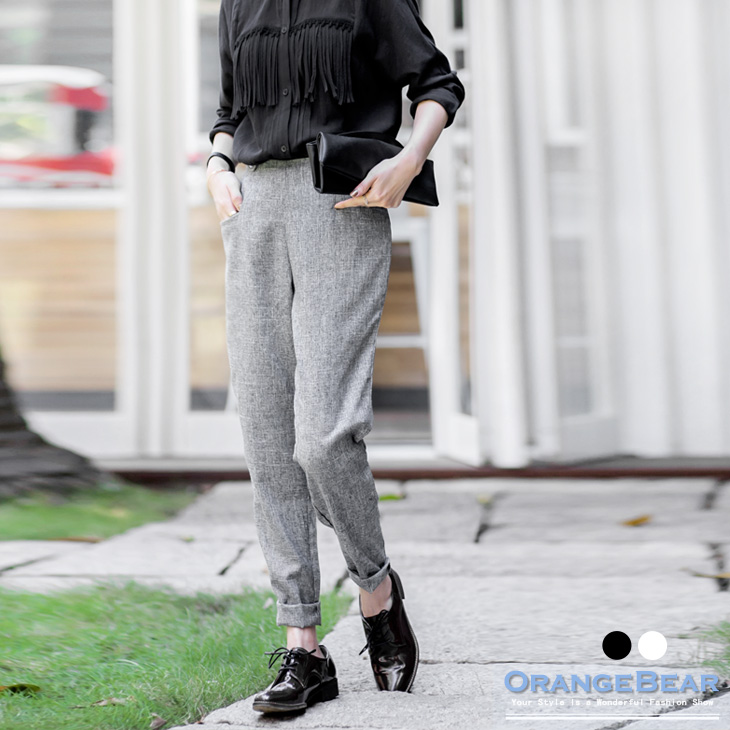 混色格紋後拉鍊修身顯瘦長褲.2色