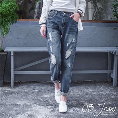 0407新品 抓皺刷色破損感設計牛仔男友褲