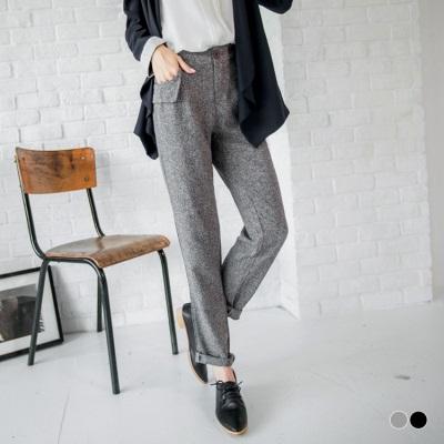 毛呢感設計造型口袋長褲.2色