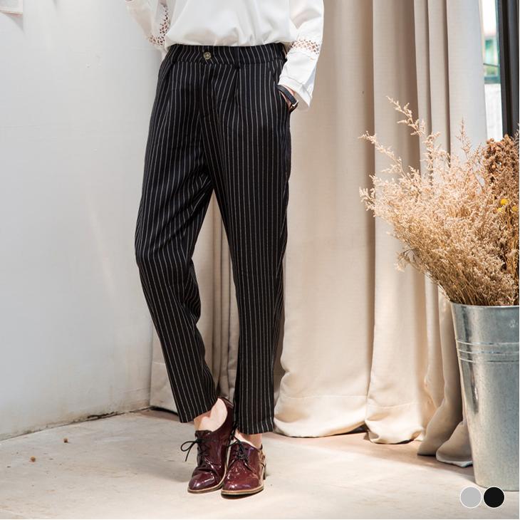 0506新品 條紋質感面ob尺寸料打褶長褲.2色
