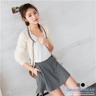 1124新品 西裝布質感打褶修身排釦褲裙.2色