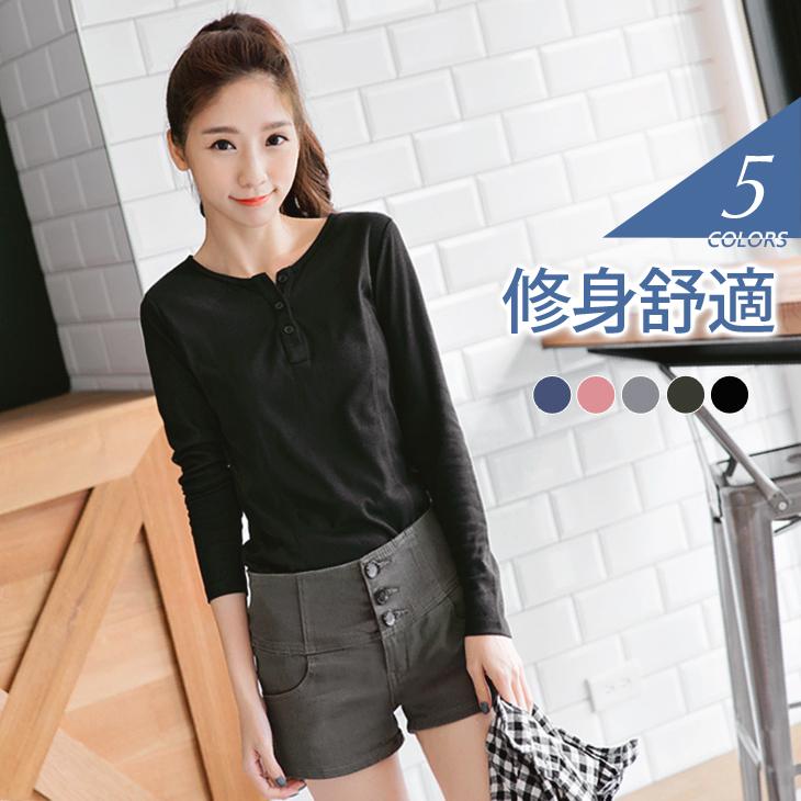 0226新品ob 嚴 選 服飾 圓領開釦半開襟腰線剪裁素面上衣.5色