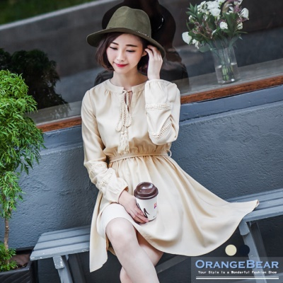 素色附綁帶領口綁帶布蕾絲高腰洋裝.2色