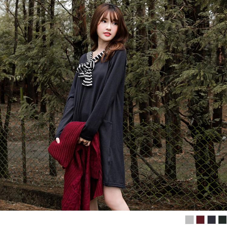1130新品 可拆條紋領巾+腰線剪裁口袋洋裝/長版上衣.2色