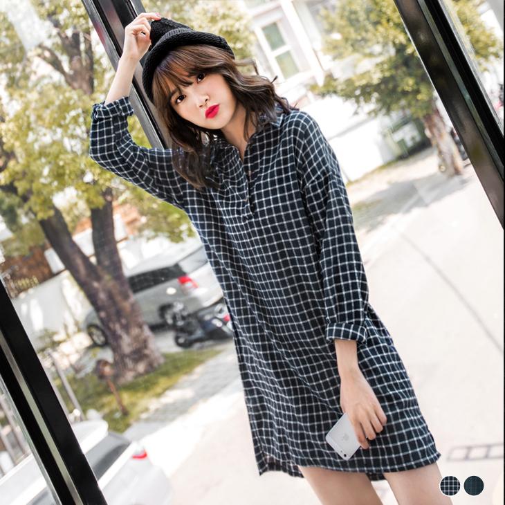 0128新品 小格紋設計開襟襯衫領洋裝.2ob 嚴 選 門市色