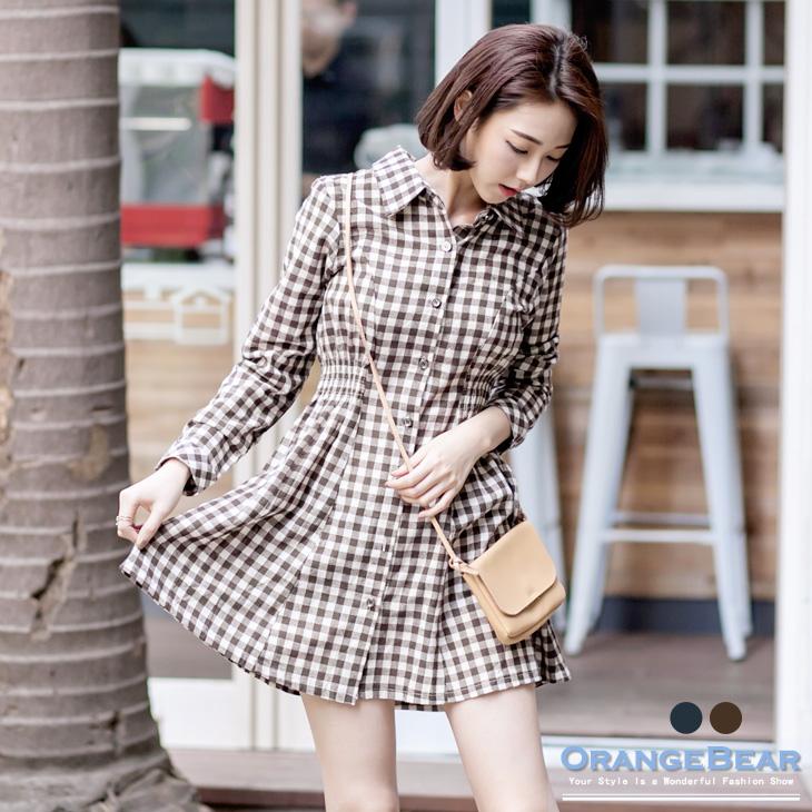 公主線格紋開ob尺寸襟雙側縮腰傘襬洋裝.2色