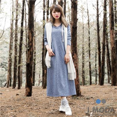0219新品 連帽抽繩腰線剪裁口袋混色長洋裝.2色
