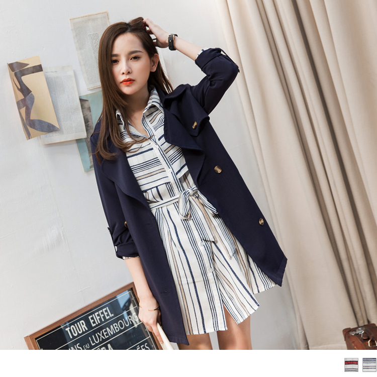 【好感洋裝?2件68折】附綁帶配色條紋開襟洋裝.2色