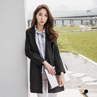 嚴選韓風長版西裝外套.2色