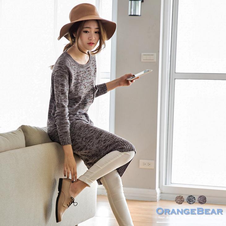 1130新品 暖暖時髦~圓領混色針織長洋裝.3色