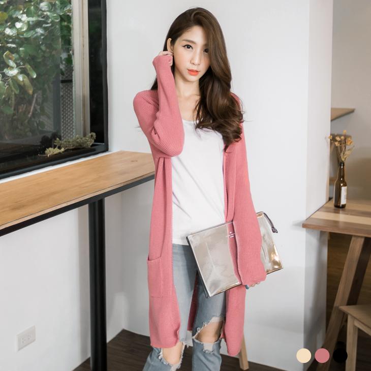0215新品 ob洋裝純色開襟長版針織外套.3色