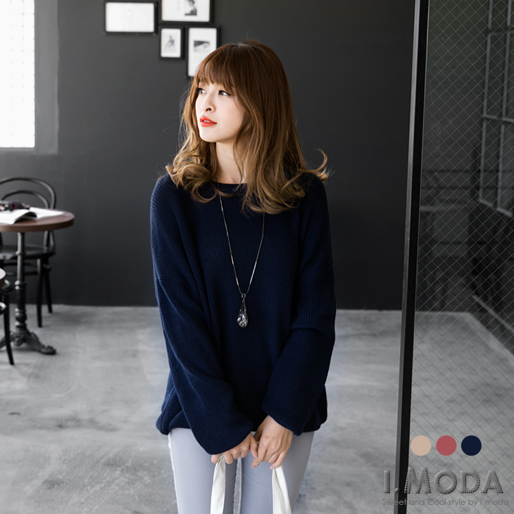 1105新品 純色圓領落肩設計寬鬆感針織毛衣.3色