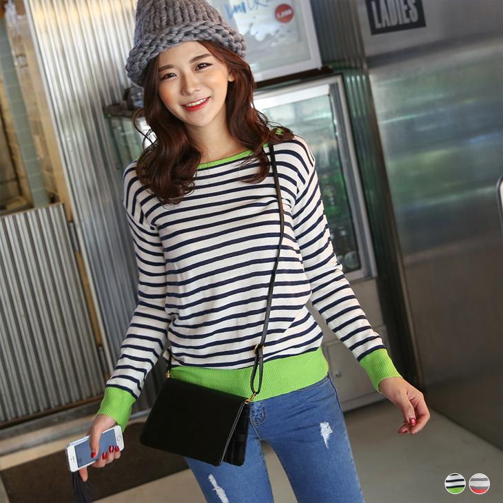 0215新品 條紋螢光配色羅紋針織上衣.2色