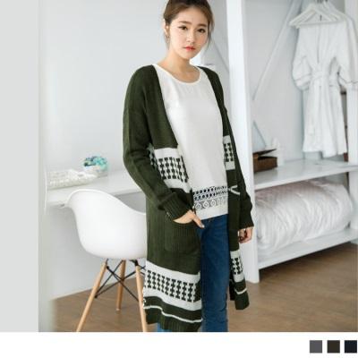 配色排列民俗感開襟針織長版外套.3色