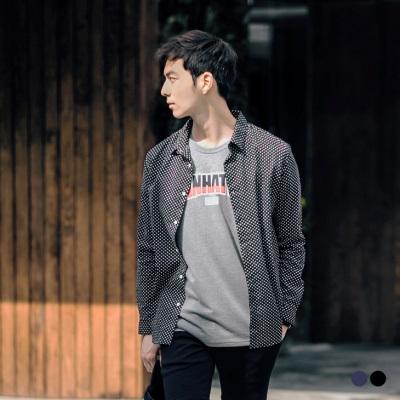 0603新品 魅力圓點棉質休閒襯衫‧男2色