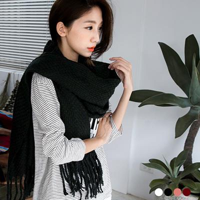 1209新品 【特價款】 純色編織設計流蘇圍巾.4色