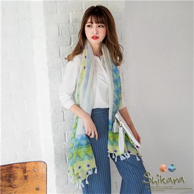 幾何民俗風印花流蘇圍巾.2色