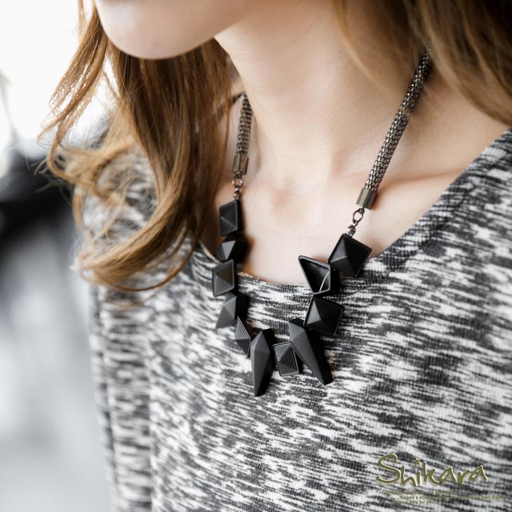 1008新品 神秘黑幾何造型設計粗項鍊