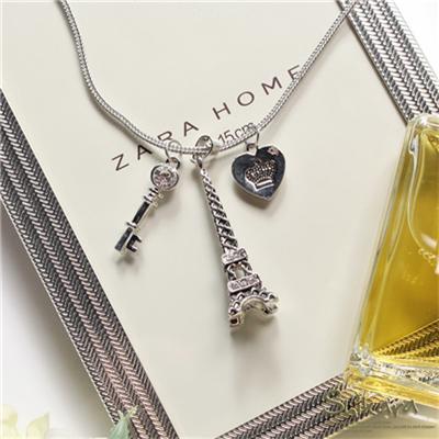 巴黎鐵塔X愛心X鑰匙墬飾項鍊