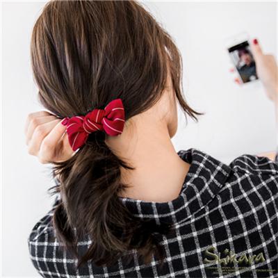 0408新品 【特價款】 細條紋面料蝴蝶結髮夾.4色