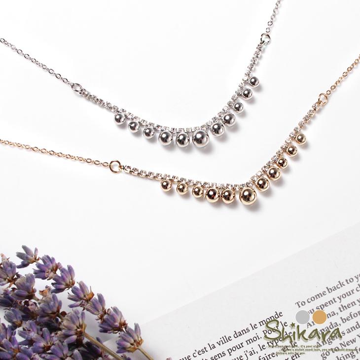 1030新品 【特價款】 水鑽mix圓珠造型ob精選排列項鍊.2色