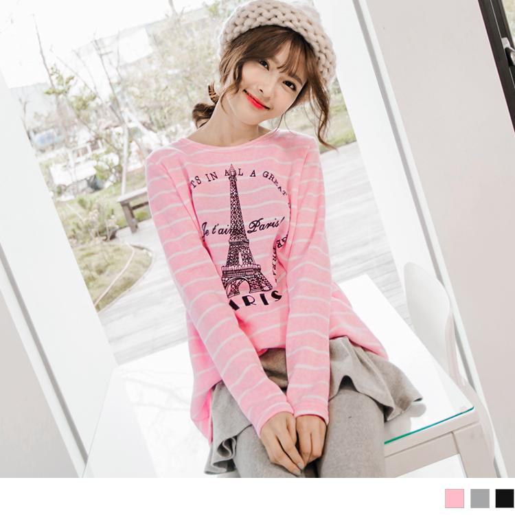 0130新品ob  巴黎鐵塔圖案橫條紋厚刷毛長版上衣?3色