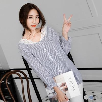 蕾絲領落肩打摺條紋襯衫.2色