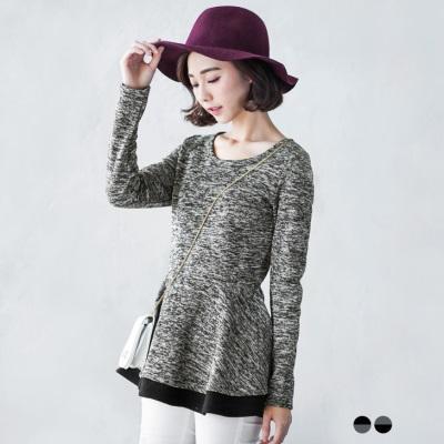 0224新品 混色X素色質感仿毛料高腰傘襬長版上衣.2色
