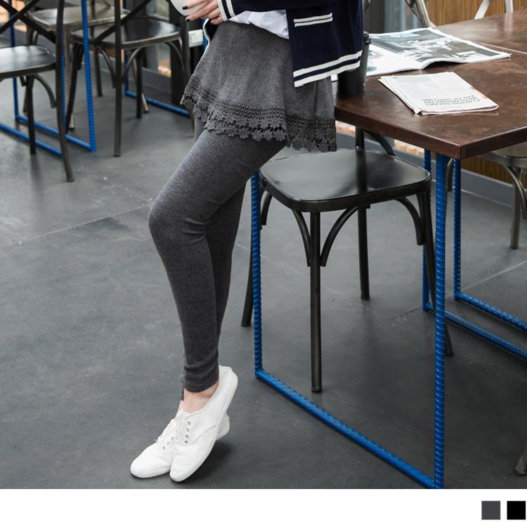 0113新品 obdesign.com.tw假兩件式素色X雕花布蕾絲下襬短裙內搭褲.2色