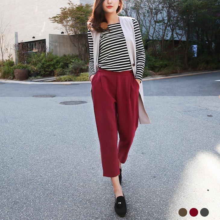 0304新品 素色質感面料打褶修身八分哈倫褲.3色