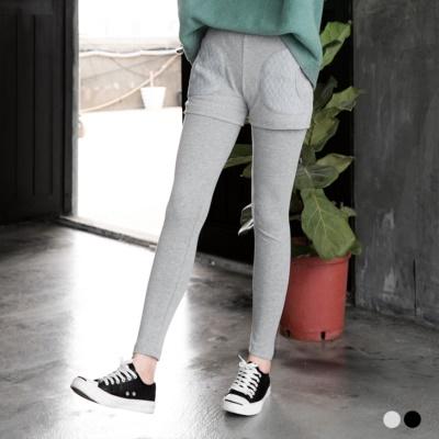 0411新品 假兩件式菱格口袋設計內搭褲.2色