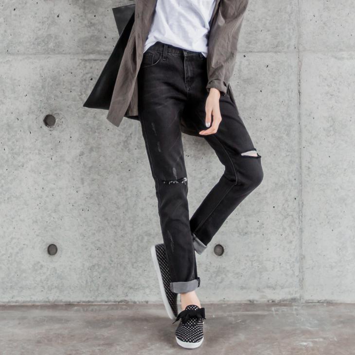 0303新品 刷色破損設計黑色牛仔長褲