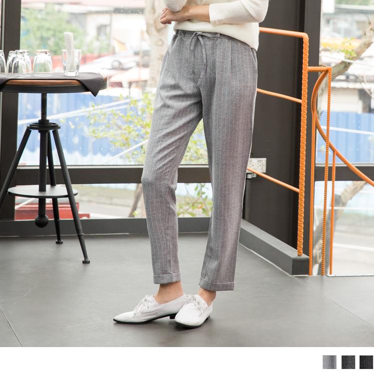 0603新品 直條/ob 嚴 選 官方 網站混色質感抽繩修身長褲.3色