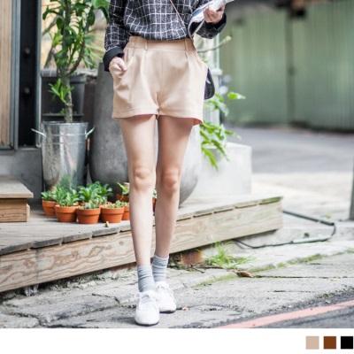 素色打褶立體口袋修身短褲.3色