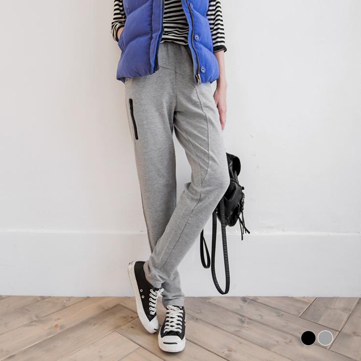 0226新品 側拉鍊造型剪裁休閒褲.2色